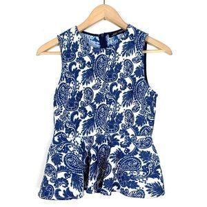 Zara Top Blouse Sleeveless Peplum Blue Paisley